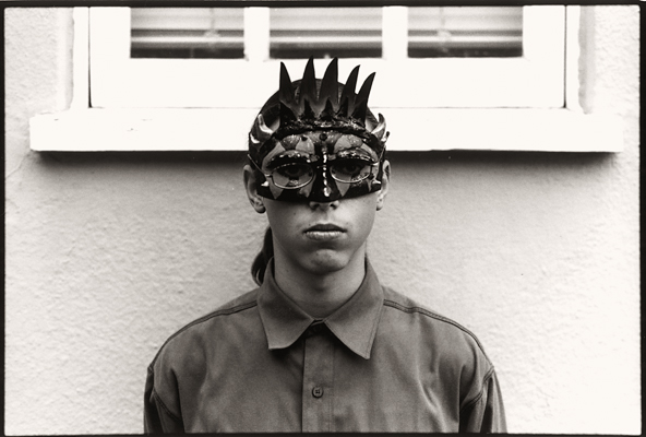 Morgan in mask (Berkeley, 2005) © Sheila Newbery