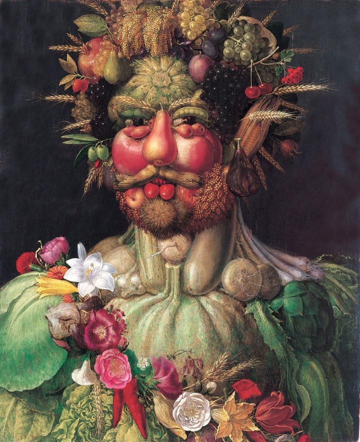 Rudolf II (Holy Roman Emperor) as Vertumnus, Roman divinity of the seasons (ca. 1590-1) by Giuseppe Arcimboldo