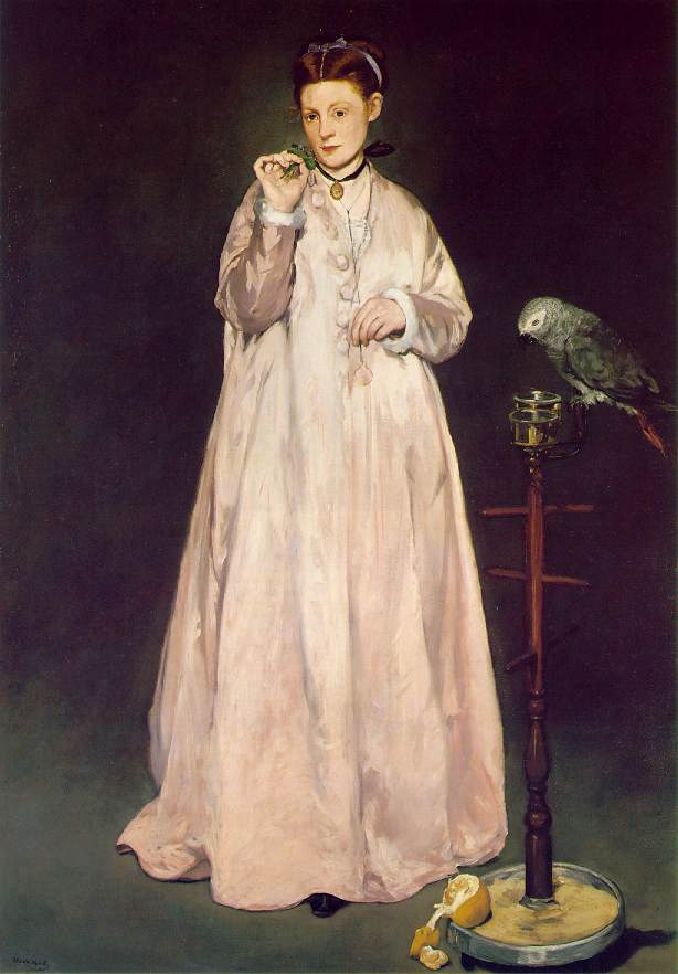 Woman with Parrot (1866) by Edouart Manet