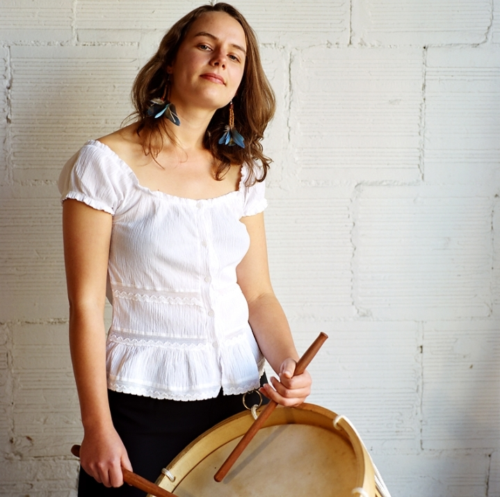 Annette with Brazilian drum (2008) © Sheila Newbery