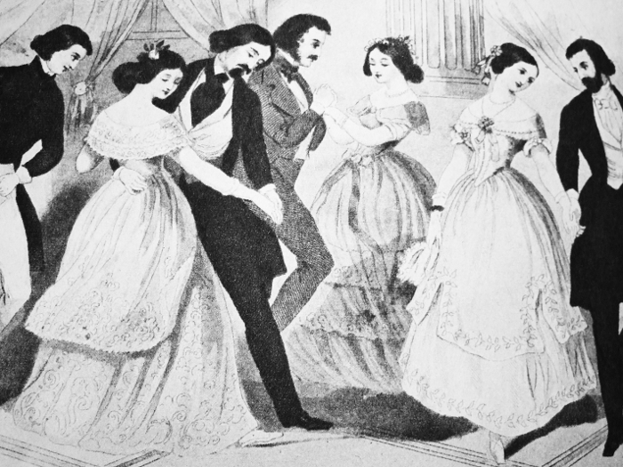 'American couples dancing the foreign polka' (detail)