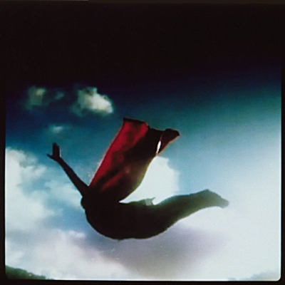 """The Red Cape"", from *Still Falling*, instant-film miniatures of video stills (2012) by Sheila Newbery"